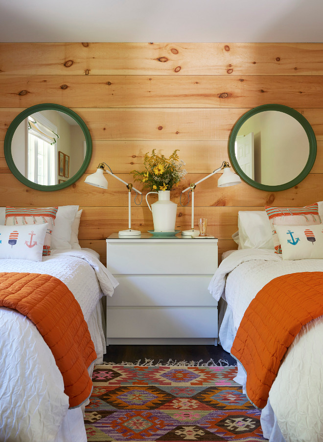 Shiplap Cottage Bedroom Shiplap Cottage Bedroom Ideas cottage bedroom with Knotty Pine shiplap decor sources on Home Bunch #cottage #bedroom #shiplap