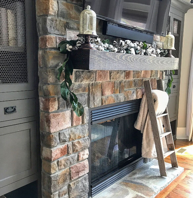 Farmhouse Stone Fireplace with timber wood mantel source on Home Bunch