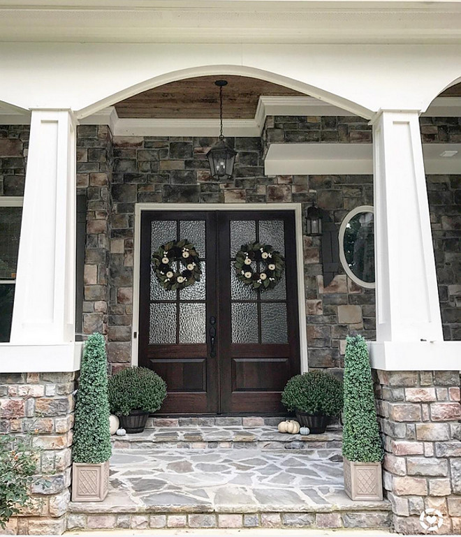 Stone and white trim Tapered Porch Columns - details on Home Bunch